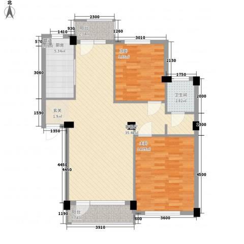 长鹭晶品缘林2室1厅1卫1厨73.91㎡户型图