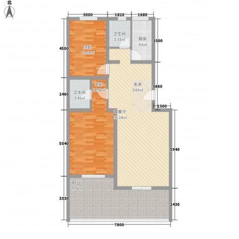 奥威花园2室1厅2卫1厨138.00㎡户型图