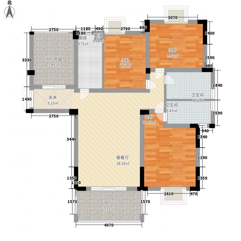 晴山蓝城二期125.00㎡御品居XG3户型3室2厅2卫1厨