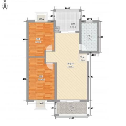 河风丽庭2室1厅1卫1厨88.00㎡户型图