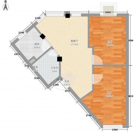 河风丽庭2室1厅1卫1厨67.00㎡户型图