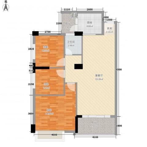 金宝山庄3室1厅1卫1厨79.21㎡户型图