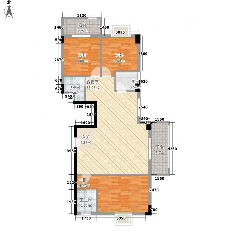 天御大厦117.00㎡07单元户型3室2厅1卫