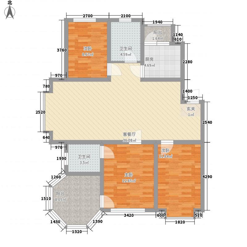 大禹城邦131.70㎡泊心湾C1户型3室2厅2卫