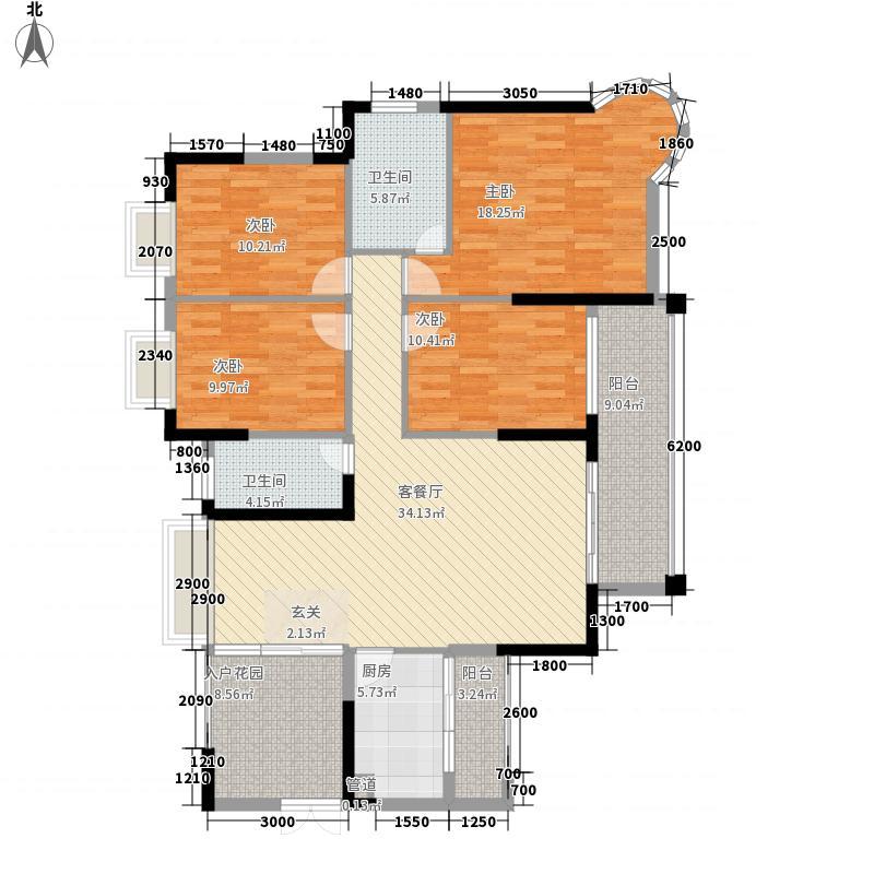 鸿江・尚城世家4室1厅2卫1厨169.00㎡户型图