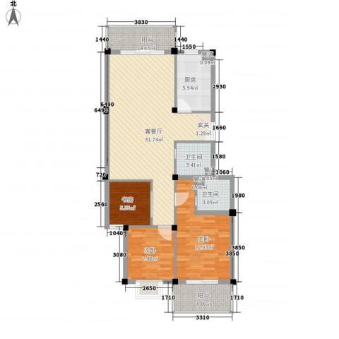 河风丽庭3室1厅2卫1厨113.00㎡户型图