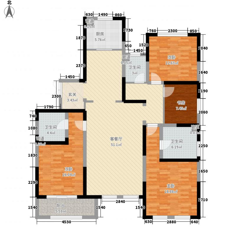 泰达MSD佰席181.20㎡1号楼标准层A2户型4室2厅3卫1厨