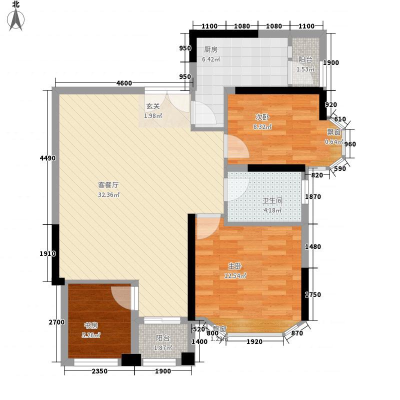 东都中央王座户型图1栋02户型 2室2厅1卫1厨