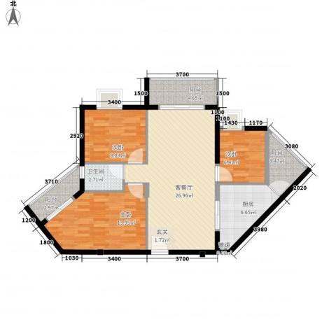 水木箐华3室1厅1卫1厨90.00㎡户型图