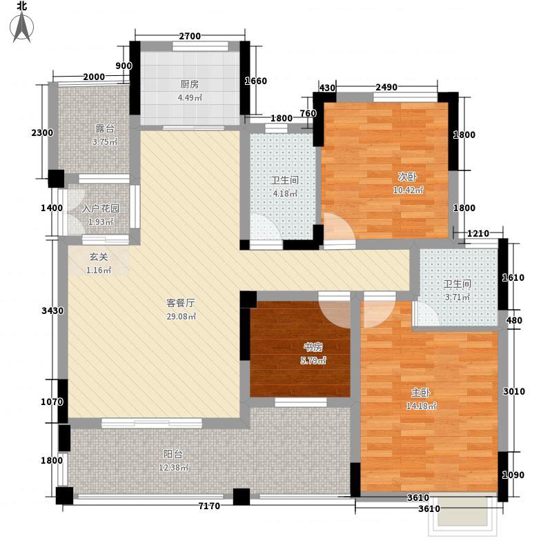 巨龙江山国际14.80㎡2期洋房12、13号楼标准层A-7户型3室2厅2卫1厨