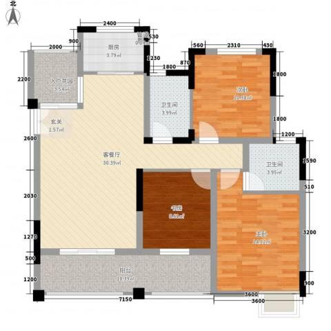 巨龙江山国际3室1厅2卫1厨89.20㎡户型图