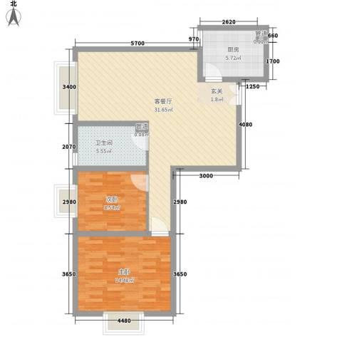 阳光银座二期2室1厅1卫1厨94.00㎡户型图