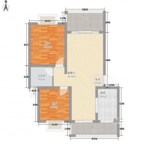 金碧涛居2室1厅1卫1厨106.00㎡户型图