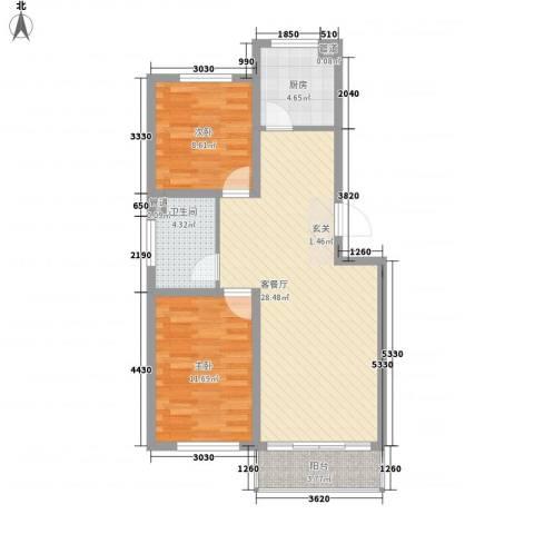 海滨花园丽景苑2室1厅1卫1厨86.00㎡户型图