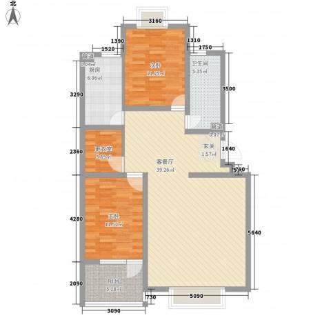 九龙山庄2室1厅1卫1厨118.00㎡户型图