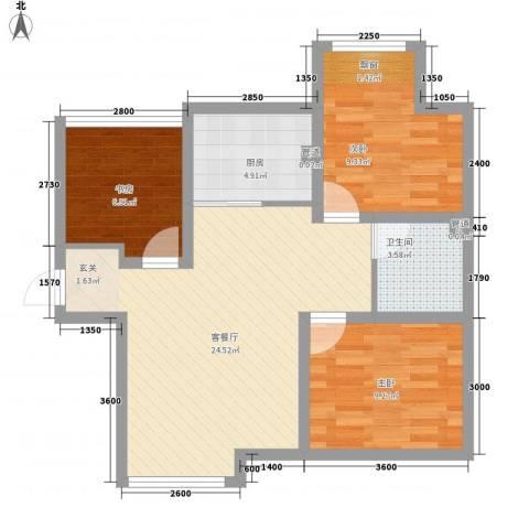 七里香堤3室1厅1卫1厨85.00㎡户型图
