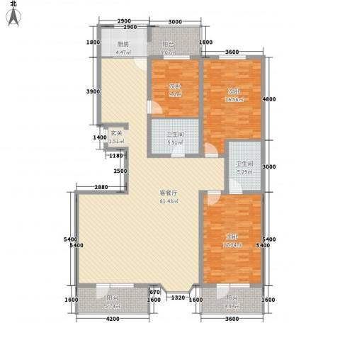 大唐龙庭(大唐智能花园三期)3室1厅2卫0厨181.00㎡户型图