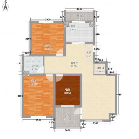 汇景苑3室1厅1卫1厨133.00㎡户型图