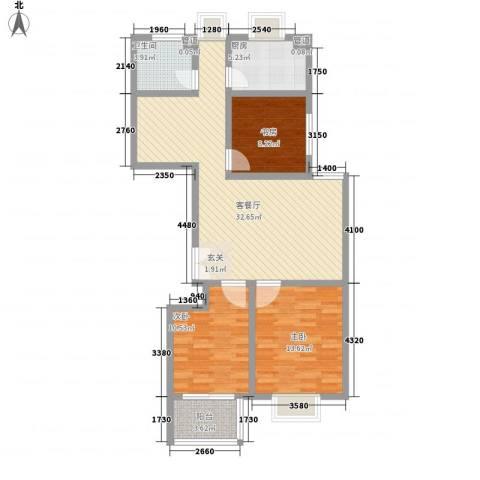 九龙山庄3室1厅1卫1厨113.00㎡户型图