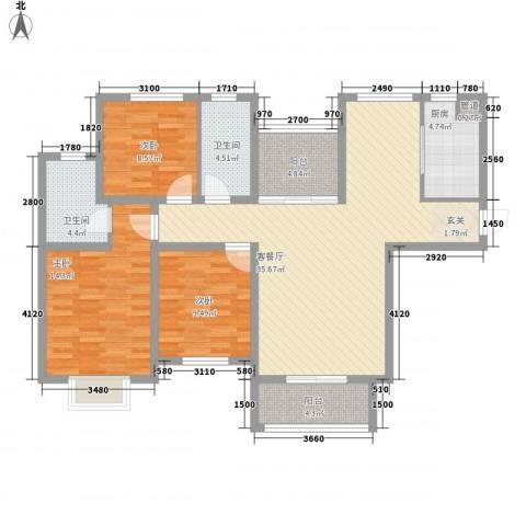 首创隽府3室1厅2卫1厨128.00㎡户型图