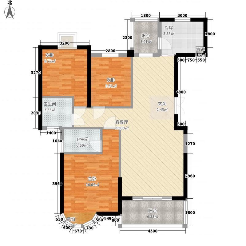 学苑公馆121.35㎡三房户型3室2厅2卫1厨