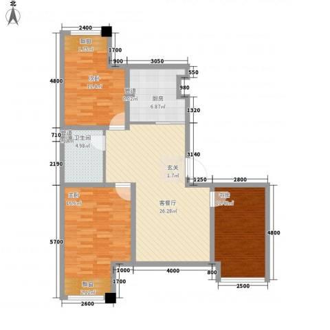 七里香堤3室1厅1卫1厨112.00㎡户型图