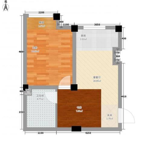 七里香堤1室1厅1卫0厨56.00㎡户型图
