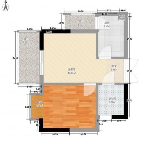 翠堤湾1室1厅1卫1厨44.00㎡户型图
