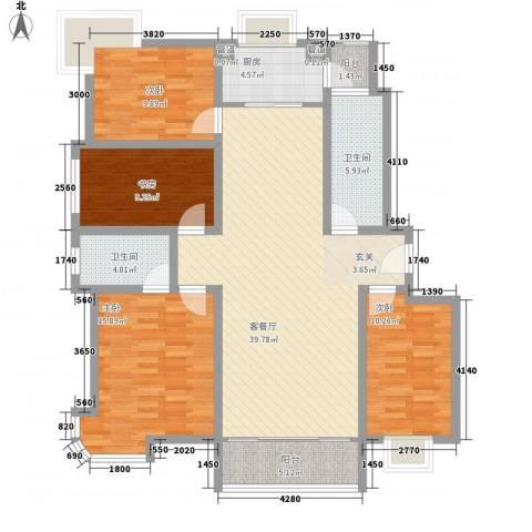 银河花园4室1厅2卫1厨153.00㎡户型图