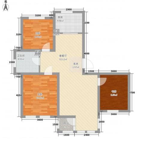 七里香堤3室1厅1卫1厨108.00㎡户型图