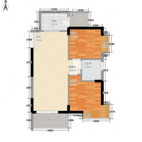 翠堤湾2室1厅1卫1厨75.00㎡户型图