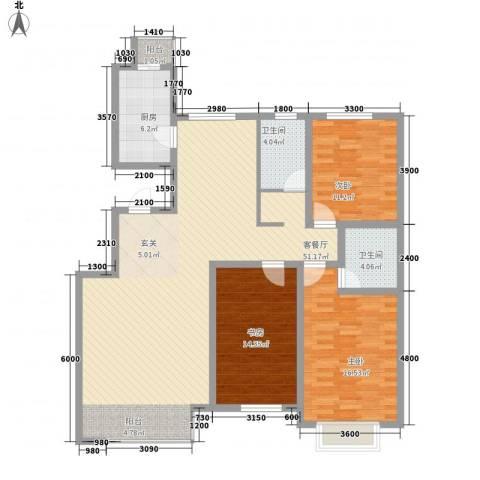 解放花园3室1厅2卫1厨153.00㎡户型图