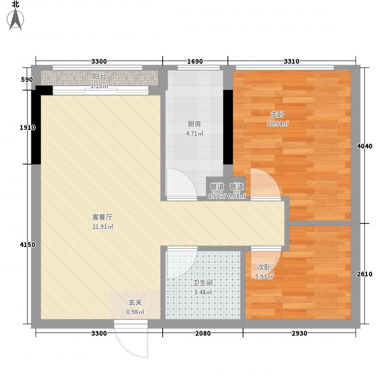汇乔金色名都65.74㎡2栋B1603户型2室2厅1卫1厨