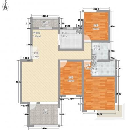 首创隽府3室1厅2卫1厨131.00㎡户型图