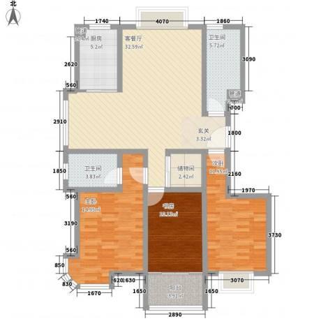 银河花园3室1厅2卫1厨132.00㎡户型图