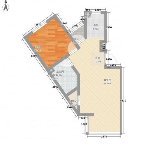 七里香堤1室1厅1卫0厨60.00㎡户型图
