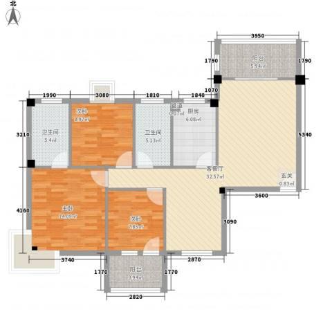 祥和雅筑3室1厅2卫1厨124.00㎡户型图