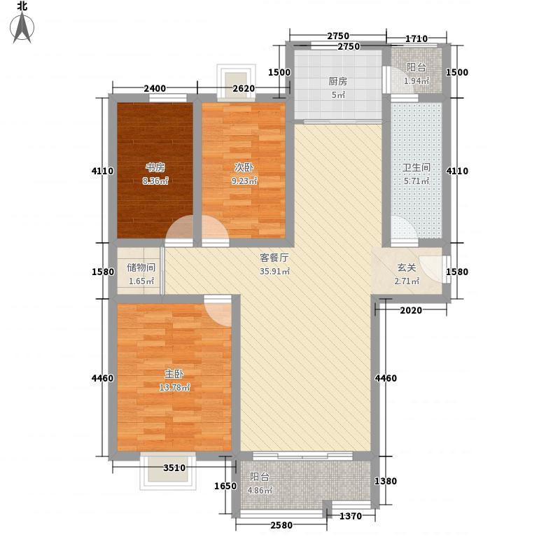 银河花园125.10㎡户型3室2厅1卫1厨