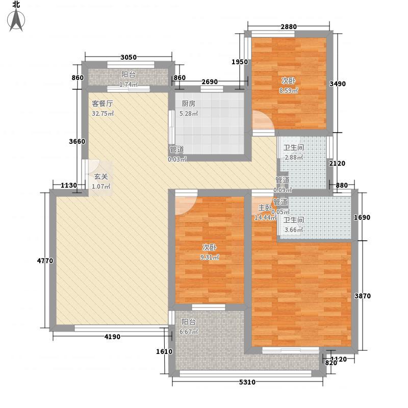 首创隽府127.00㎡花园洋房I户型3室2厅2卫