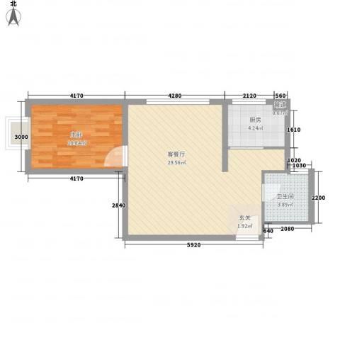 阳光银座二期1室1厅1卫1厨68.00㎡户型图