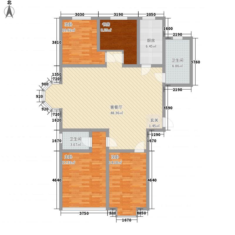 德胜凯旋花园163.48㎡E户型4室2厅2卫1厨