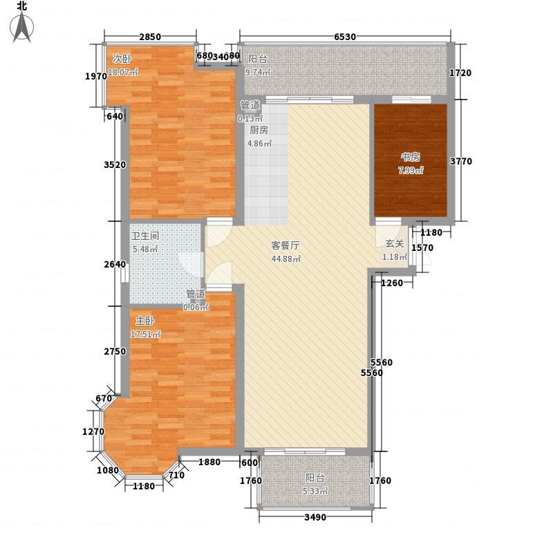爱建滨江紫园152.30㎡E户型3室2厅1卫1厨