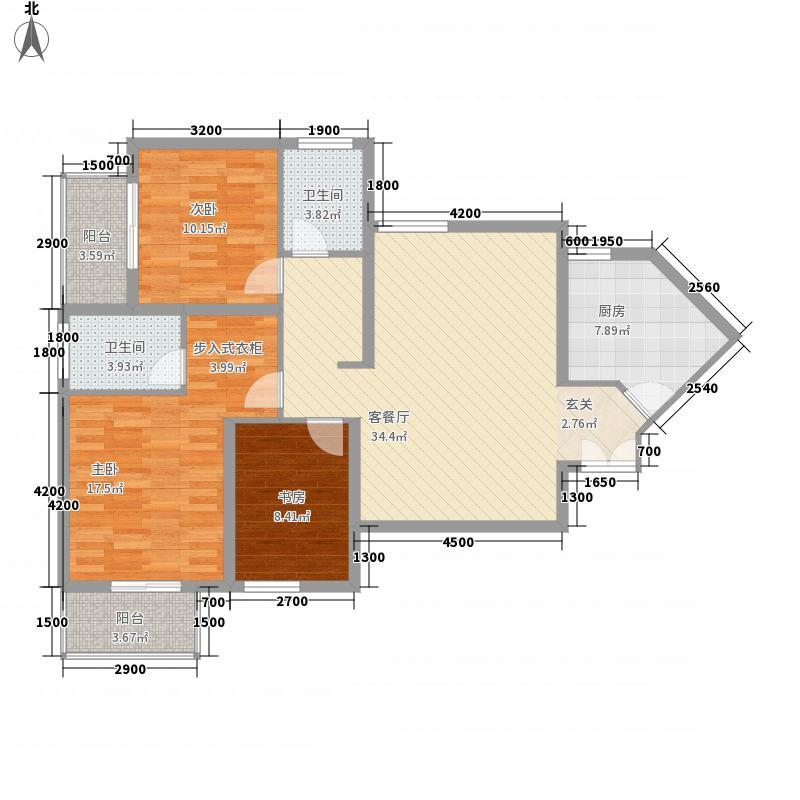 公园大道122.18㎡公园大道户型图6号楼C13室2厅2卫户型3室2厅2卫