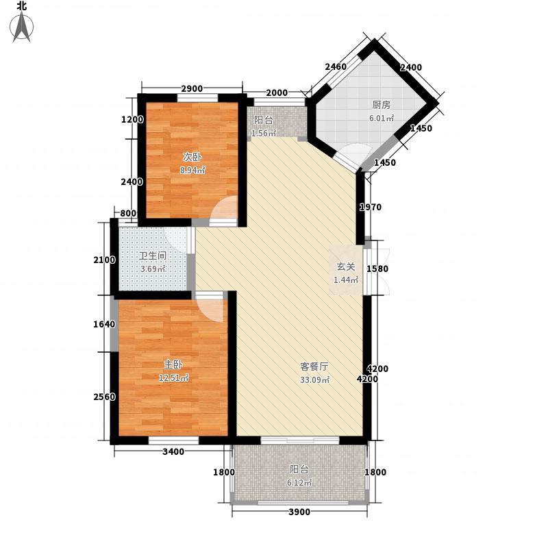 新一代北城国际6.66㎡B3户型2室2厅1卫1厨