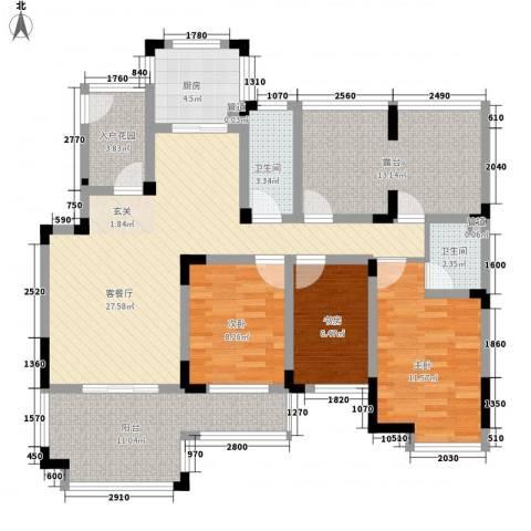 华宸金岸世家3室1厅2卫1厨137.00㎡户型图