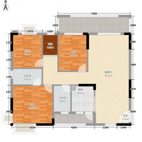 一江名城4室1厅2卫1厨138.00㎡户型图