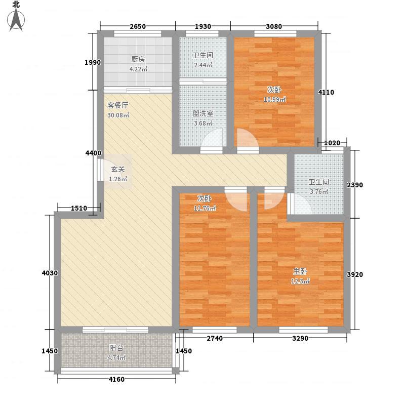 万发活力康城123.00㎡户型3室2厅2卫1厨
