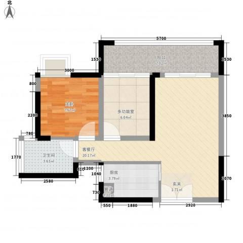 华轩居1室1厅1卫1厨48.53㎡户型图