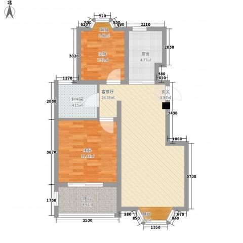 华轩居2室1厅1卫1厨81.00㎡户型图