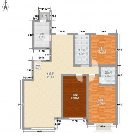 省军区第三干休所3室1厅2卫1厨153.00㎡户型图